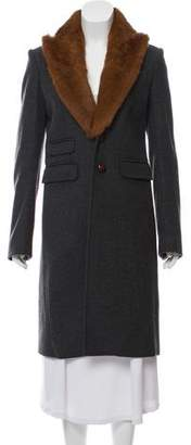 DSQUARED2 Fur-Trimmed Wool Coat