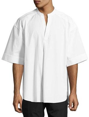 Juun J Oversized Short-Sleeve Band-Collar Shirt, White $395 thestylecure.com