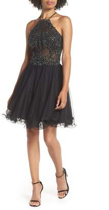 Blondie Nites Halter Neck Applique Mesh Party Dress