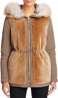 Maximilian Furs Saga Fox Fur Trim Reversible Shearling Parka $1,795 thestylecure.com
