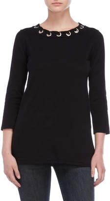 Cable & Gauge Embellished Grommet Sweater