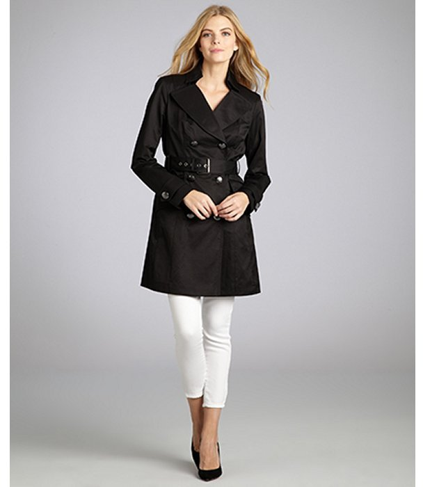 Vince Camuto black cotton blend belted double breasted trench coat