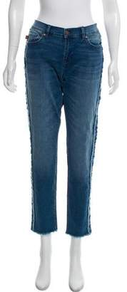 Karl Lagerfeld Fringe-Accented Mid-Rise Jeans w/ Tags