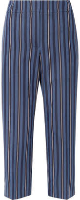 Burberry Cropped Striped Wool-blend Jacquard Straight-leg Pants - Navy