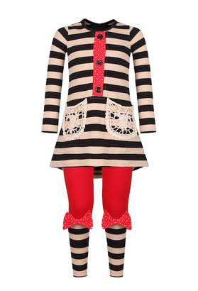 BEIGE Mia Belle Girls Black & Placket Tunic with Contrast Cuff Leggings Set (Toddler, Little Girls, & Big Girls)
