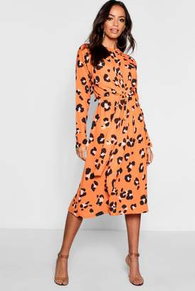 boohoo Leopard Wrap Detail Waist Midi Dress