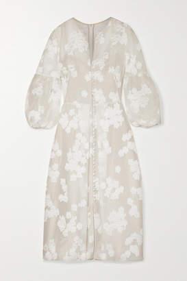Lela Rose Striped Fil Coupe Silk-blend Organza Midi Dress - Ivory
