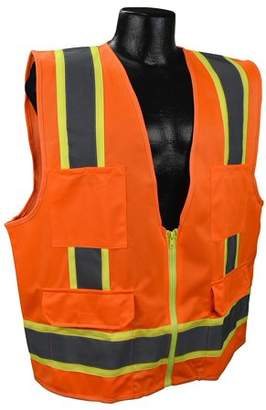 US2ON16 Class 2 Solid Surveyor Safety Vest - Orange - XL, Solid Polyester Material By Full Source