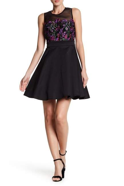 bebe Embroidered Fit and Flare Dress