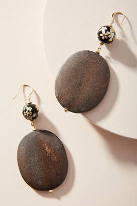 Anthropologie Cherry Blossom Wooden Drop Earrings