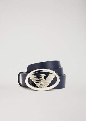 Emporio Armani Faux Leather Belt With Logo Buckle