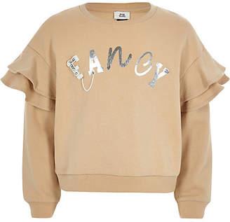 River Island Girls beige 'fancy' ruffle sleeve sweatshirt