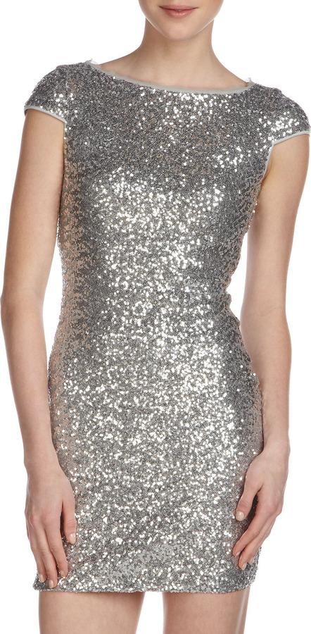 Ali Ro Sequin Cutout-Back Dress, Silver