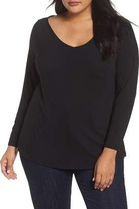 Sejour Wide V-Neck Tee (Plus Size)