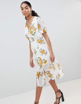Missguided Floral Button Front Midi Dress