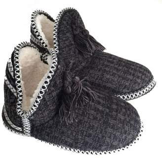 Greenery-GRE Women's Indoor Slipper Boots Ladies Girls Winter Warm Cotton Cable Knit Plush Fleece Lined Ankle High Snow Booties Lounge House Relaxed Slip on Non-slip Shoes