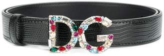 Dolce & Gabbana gemstone logo buckle belt