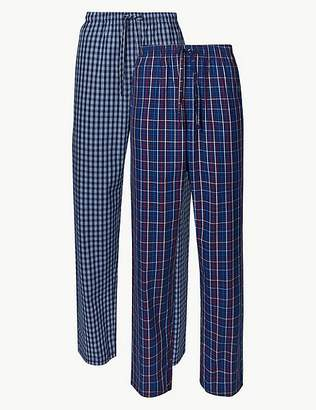 Marks and Spencer 2 Pack Pure Cotton Checked Long Pyjama Bottoms