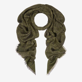 Bally Jacquard Square Scarf Green, Men's cotton jacquard scarf in olive