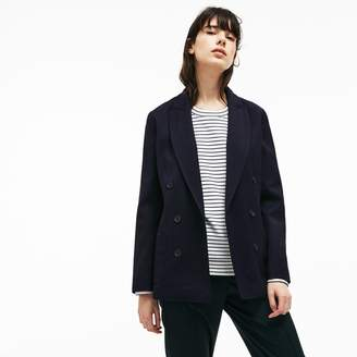 Lacoste Women's Contrast Accents Stretch Wool Pique Blazer