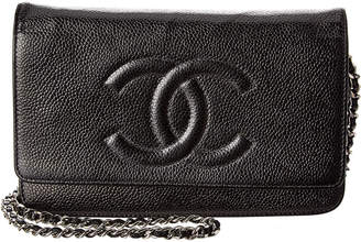 Chanel Black Caviar Leather Wallet On Chain