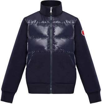 Moncler Knit & Quilted Stand Collar Jacket, Size 8-14