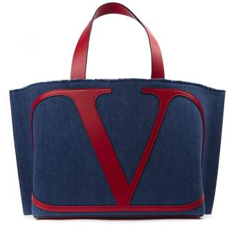 Valentino Blue And Red Denim And Leather Handbag With Logo
