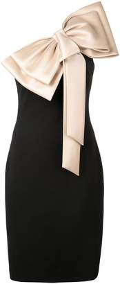 Badgley Mischka large bow-tie fitted dress