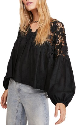 Free People Lina Embroidered Lace Blouse