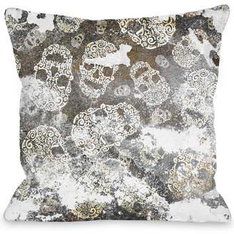 One Bella Casa Stamped Skull Decorative Pillow