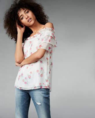 Express Metallic Floral Print Ruffle Off The Shoulder Blouse