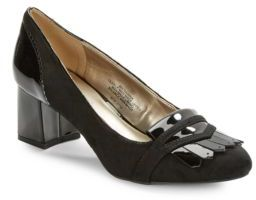 Bandolino Odonna Suede and Patent Heeled Loafer $69 thestylecure.com