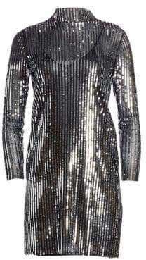 Tanya Taylor Penelope Stripe Sequin Shift Dress