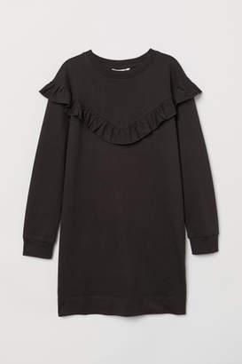 H&M Ruffled Sweatshirt Dress - Black