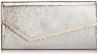 Jimmy Choo ERICA Champagne Glitter Leather Clutch Bag