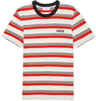 Ami Logo-Appliquéd Striped Cotton-Jersey T-Shirt
