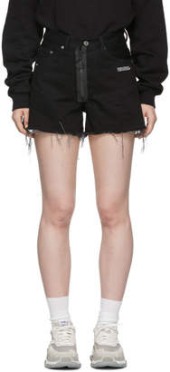Off-White Off White Black Vintage Flowers Denim Shorts