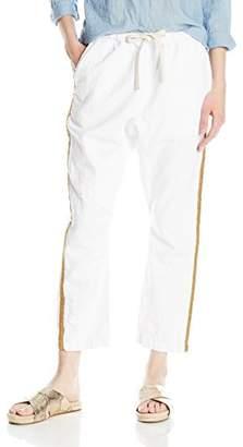 Freecity Women's White Sail Pant Gold Tuxedo Stripe
