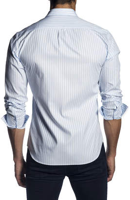 Jared Lang Men's Semi-Fitted Striped Long-Sleeve Button-Down Shirt