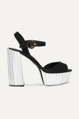 Dolce & Gabbana Crystal-embellished Canvas Platform Sandals - Black