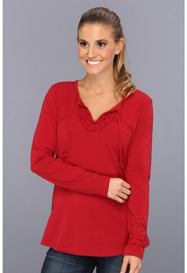 Exofficio Go-To Ruffle Long Sleeve Shirt (Framboise) - Apparel