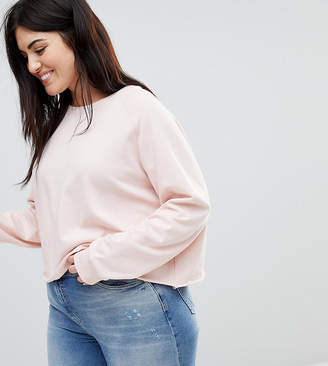 Asos DESIGN Curve sweatshirtshirt with raw hem in soft pink