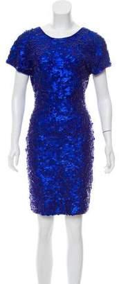 Carmen Marc Valvo Sequined Knee-Length Dress