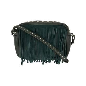 Little Remix Little RemixGreen Leather Shoulder Bag With Fringe & Studs