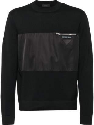 Prada panelled zipped pocket sweater