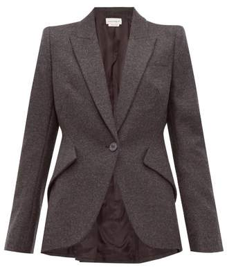 Alexander McQueen Single Breasted Wool Flannel Jacket - Womens - Light Grey