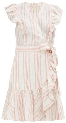 Rebecca Taylor Ruffled Striped Linen Mini Wrap Dress - Womens - Cream Multi