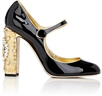Dolce & Gabbana Women's Embellished-Heel Mary Jane Pumps-BLACK $1,445 thestylecure.com