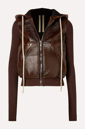 Rick Owens Reg Hooded Faux Textured-leather And Cotton-jersey Jacket - Brown