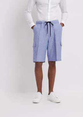Emporio Armani Bermuda Shorts In Chambray Linen With Cargo Pockets And Elasticated Waist